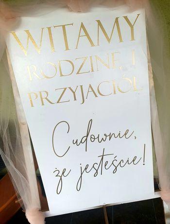 Tablica powitalna, wesele ślub