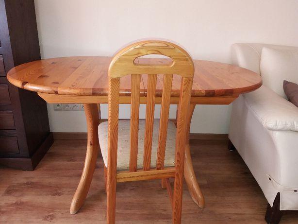 Stół sosnowy owalny rozkładany 140(180)x90cm + 4 krzesła