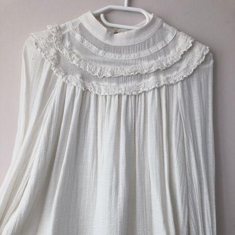 Zara biała kremowa boho bluzka koszula S M zwiewna rozkloszowana
