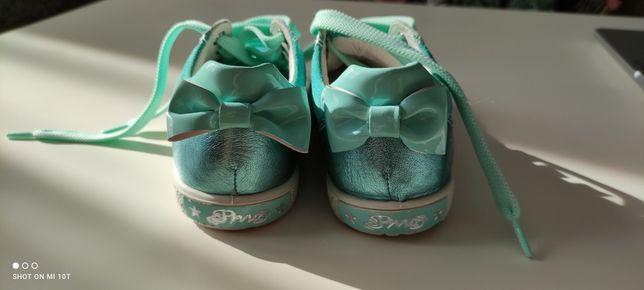 25 17 cm Primigi buty trampki kokardki miętowe turkusowe