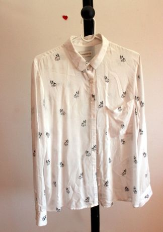 Camisa Comprida com Padrão Bulldogs Branca PULL&BEAR