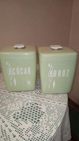 2 caixas de arrumação vintage, de cozinha