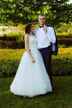 Suknia ślubna 34/36, gratis koło i bolerko
