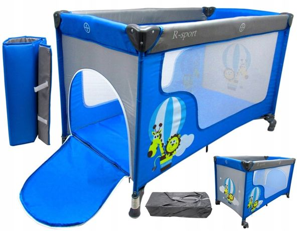 Łóżeczko Turystyczne Kojec Dla Dziecka R-Sport K2 Niebieskie