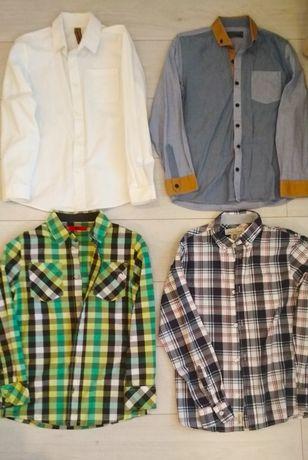 Рубашка для мальчика в школу клетчатая белая синяя р 148 158 11 12 лет