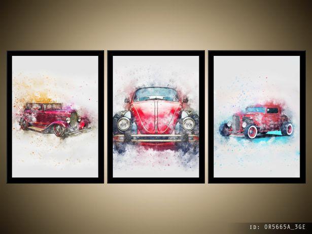 Zabytkowy samochód, 96x44cm, Obraz w ramie, Obrazy, papier, sklep