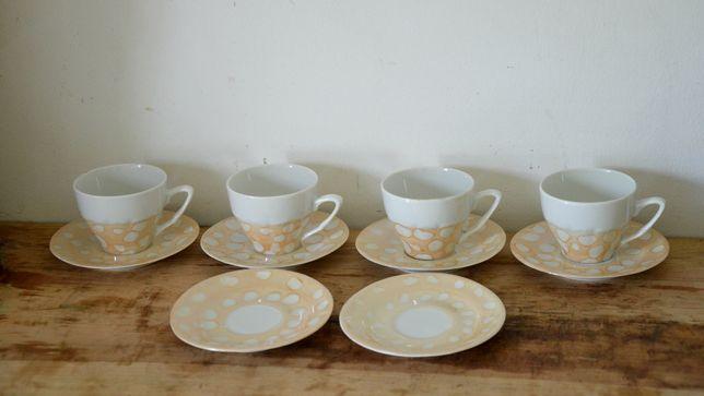 stary Kpl. 4 oryginalnych filiżanek porcelana+ talerzyki