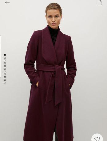 Пальто халат манго mango бордовое бордо