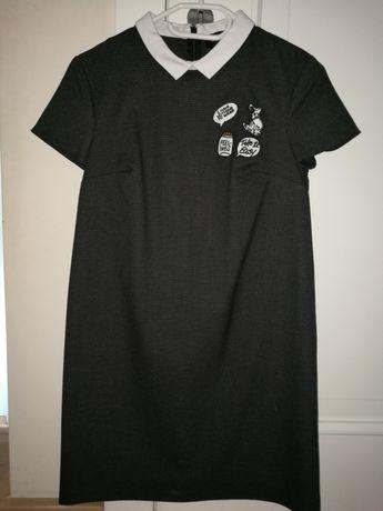 Sukienka czarna z kołnierzykiem rozm 34