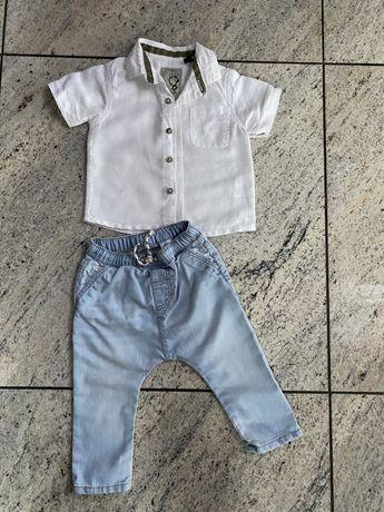 Biala koszula lniana Next wiosna lato 74 80