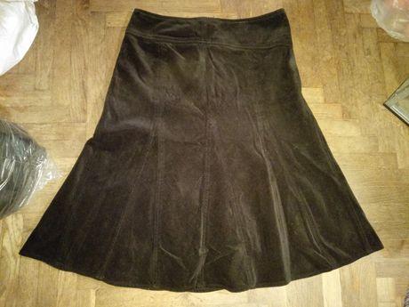 Вельветовая черная юбка школьная 38