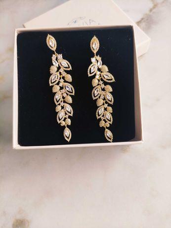 Kolczyki ślubne Novia Blanca Lisa Antiqe Gold 7,5 cm jak nowe!
