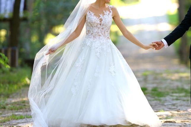 Suknia ślubna 36 / 38 + welon krótki i długi 3m