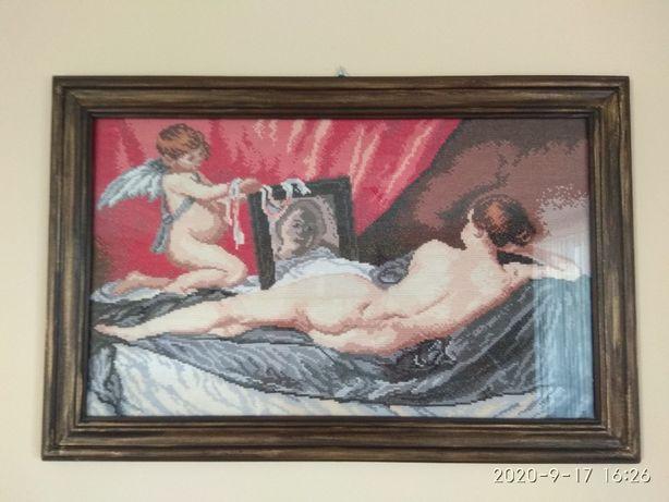 """""""Wenus z lustrem"""" Diego Velázquez - haft krzyżykowy"""