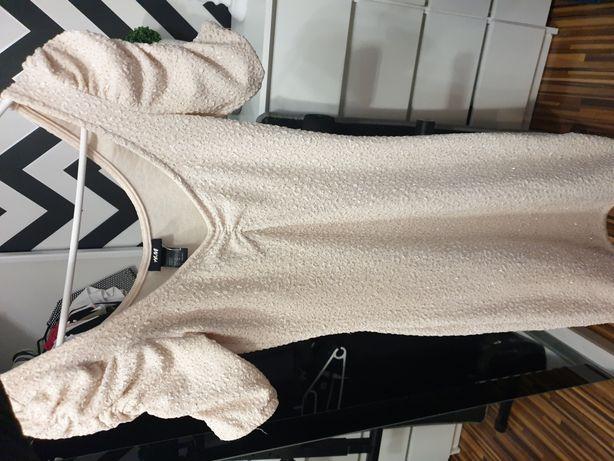Sukienka beżowa błyszcząca brokat mini