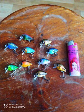 Duży zestaw mini woblerów, owady, smużaki, jaź, kleń, okoń, wzdręga