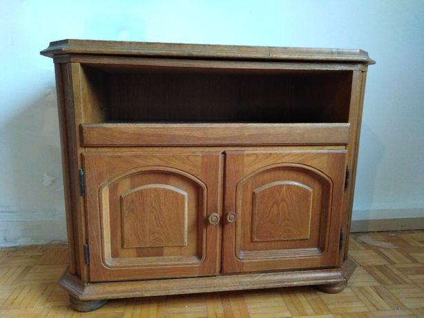 szafka tv prl rustykalna dąb vintage retro
