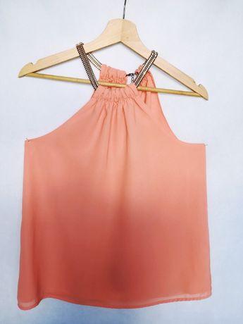 Pomarańczowa bluzka z odkrytymi ramionami rozm. S