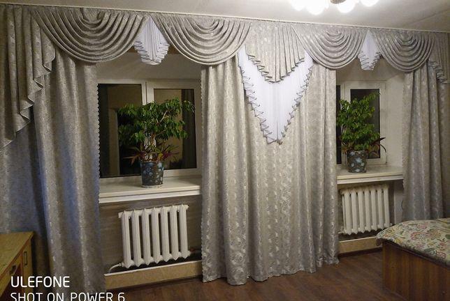Серебряный комплект на 2 окна: гардины 2шт, шторы 4шт, ламбрекены 2шт