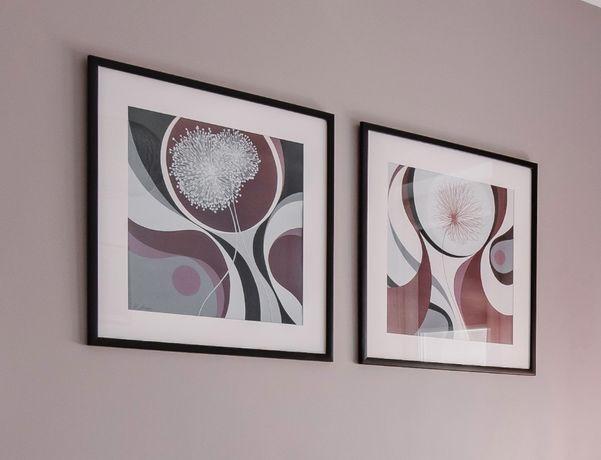 Art Deco 2szt OBRAZ 62x62cm GRAFIKA ABSTRAKCJA dekoracja salon sypialn