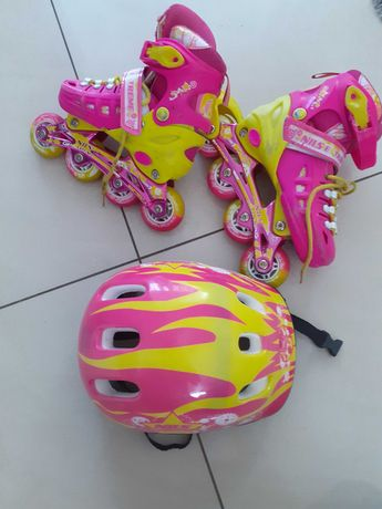 Rolki+kask regulowany+ ochraniacze  rozmiar 31-34 dla dziewczynki