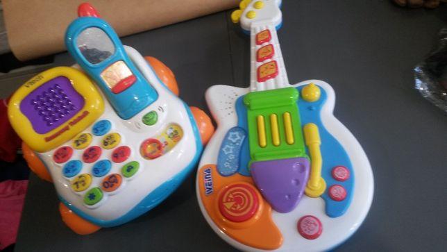 Zestaw zabawka telefon + grająca gitara