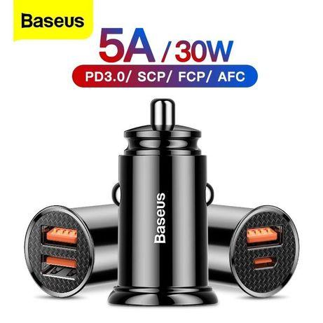 Baseus Carregador Auto Quadrado USB + Type-C 30W -Preto-Novo-24h