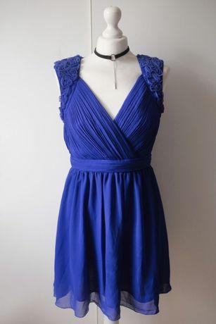 Little Mistress London piękna niebieska plisowana wesele