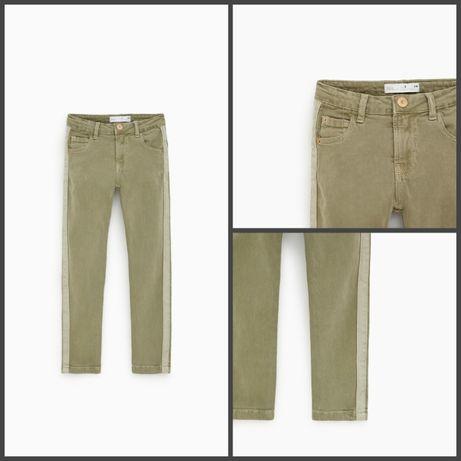Джинсы-брюки ZARA из саржи цвета хаки на 10 лет 140 рост