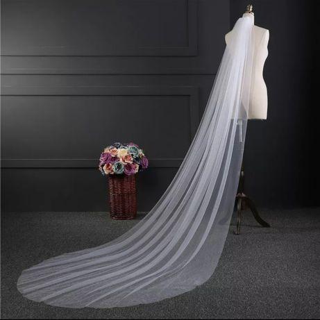 NOWY długi biały welon gładki ślubny 200 cm 2 m