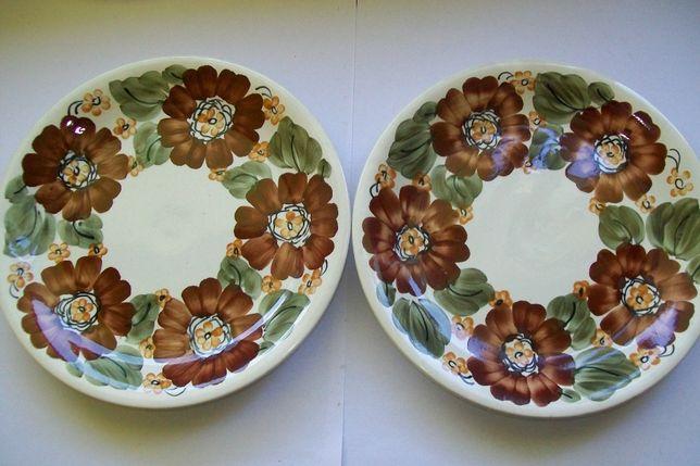 2 x talerz dekoracyjny fajans Włocławek sygnowany ręcznie malowany