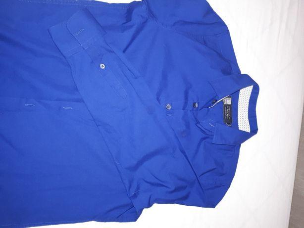 Koszula chłopięca r.158 granatowa/niebieska