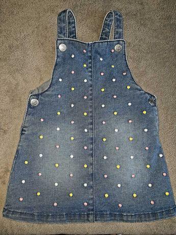 Jeansowa sukienka 6-9 m-cy F&F