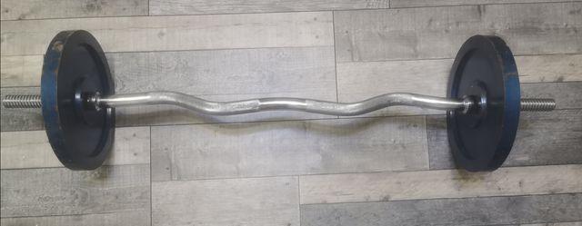 Gryf łamany  plus obciążenie żeliwne 2x10 kg