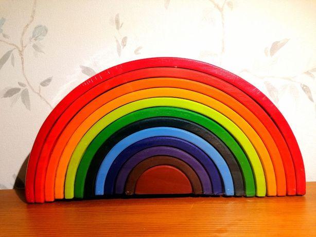 Kolorowa tęcza drewniana Montessori 12 elementów