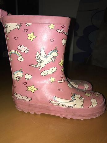 Botas de chuva rosas unicornio