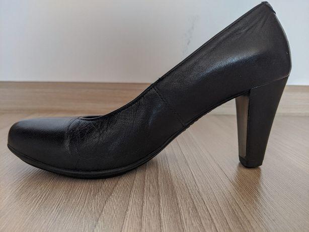 buty damskie, czarne, obcas, Lasocki, skórzane, roz. 36
