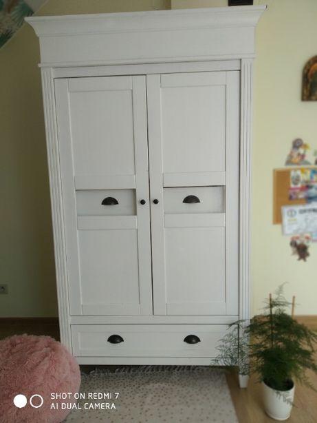 WYJĄTKOWA biała drewniana szafa garderoba witryna KOMODA