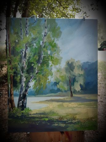 Пейзаж. Картина. Берізки