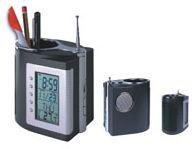 Pojemnik na pisaki z zegarem, termometrem i radiem FM - XK 308