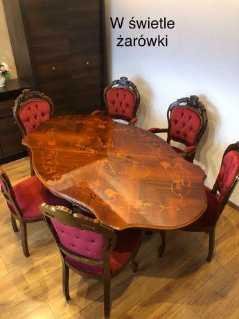Zestaw Ludwik, stół + krzesła, barok