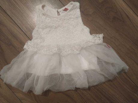 Sukienka biała koronka tiul chrzest 62