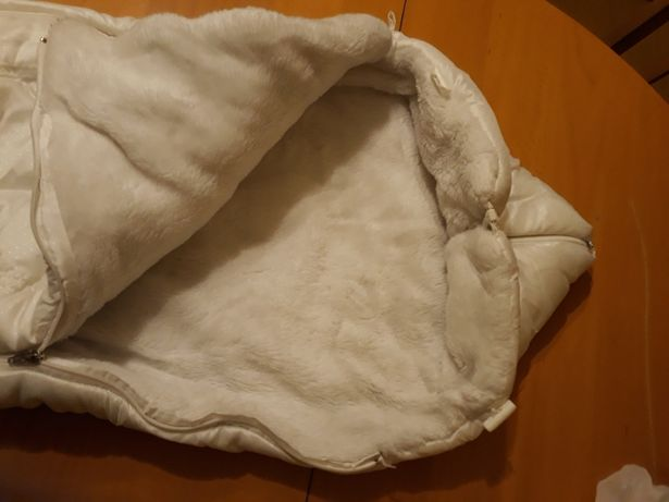 Śpiworek biały + butki futrzaki ,czapeczka i rękawiczki gratis