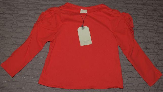 ZARA bluzka czerwona ozdobne rękawy roz.116 cm Nowa