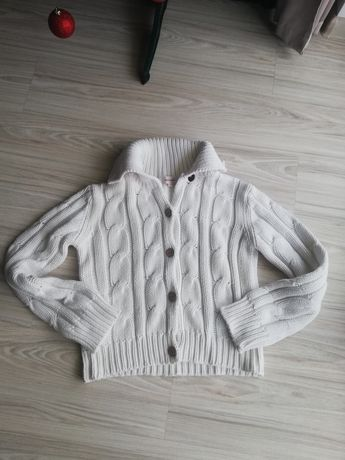 Sweter biały na guziki Marc Lauge