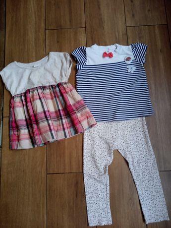 Bluzeczka, leginsy plus sukienka rozmiar 86