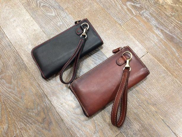 Клатч, кошелек, барсетка, портмоне на молнии ручной работы из кожи