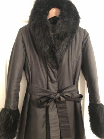 Płaszcz ocieplany z futrem r. XS-S