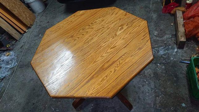 stół sześciokątny drewniany + krzesła
