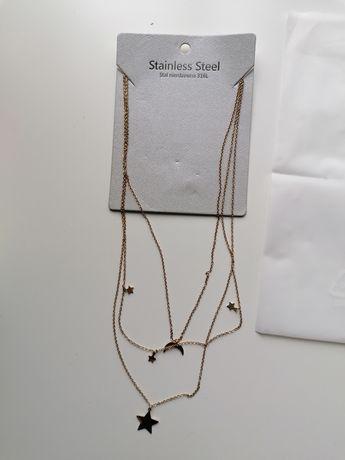 Złoty naszyjnik ze stali chirurgicznej